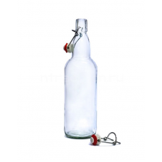 Бутылка для напитков 1л, прозрачная, бугельная пробка