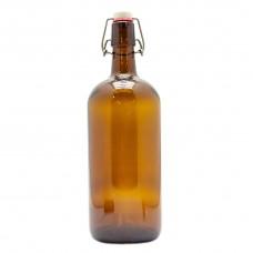 Бутылка для напитков 1л, коричневая, бугельная пробка.